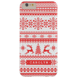 Christmas sweater red fair isle pattern monogram barely there iPhone 6 plus case