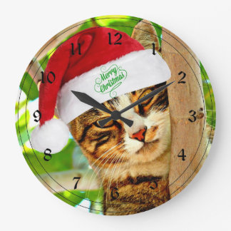 Christmas Tabby Cat in a Tree Large Clock
