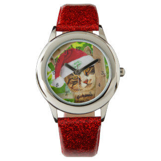 Christmas Tabby Cat in a Tree Wristwatches