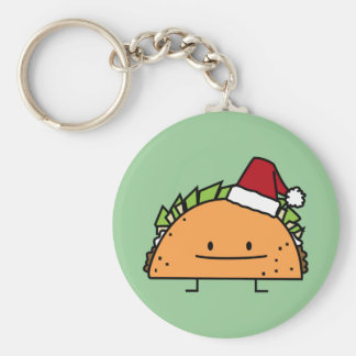 Christmas Taco with Santa Hat Basic Round Button Key Ring