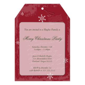 "Christmas Tag Invitation 5"" X 7"" Invitation Card"