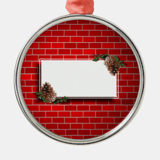 Christmas Tag With Red Brick Background Ornaments