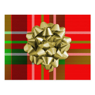 Christmas Tartan Pattern and Bow Postcard