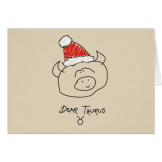 Christmas Taurus Funny Astrology Zodiac Red Cool Card