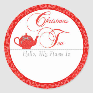 Christmas Tea Party Name Tag