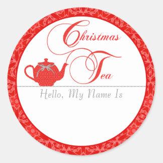 Christmas Tea Party Name Tag Round Sticker