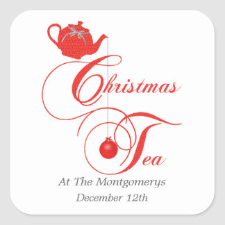 Christmas Tea Party, Red Lace Sticker