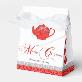 Christmas Tea Party Red Lace Teapot Favour Box