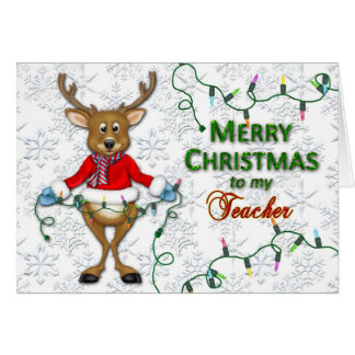 Christmas - Teacher - Reindeer/Lights Card