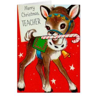 Christmas Teacher Reindeer vintage retro card