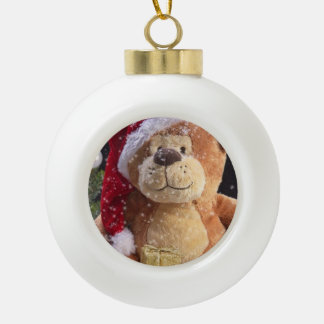 Christmas Teddy Bear and Gold Gifts Ceramic Ball Decoration