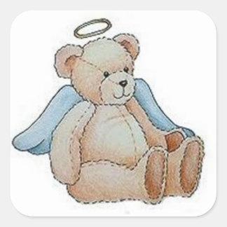 Christmas Teddy Bear Angel Square Sticker