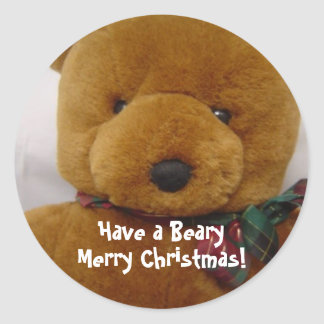 Christmas Teddy Bear Classic Round Sticker