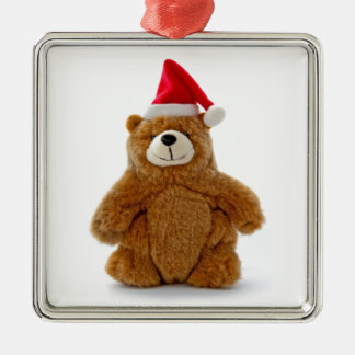 Christmas Teddy Bear Silver-Colored Square Decoration