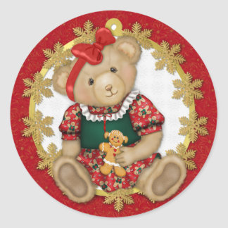 Christmas Teddy Bear - Girl Classic Round Sticker