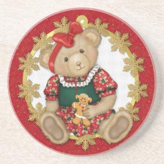 Christmas Teddy Bear - Girl Coasters