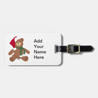 Christmas Teddy Bear Luggage Tag