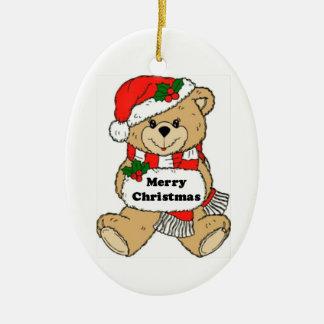 Christmas Teddy Bear Message Ceramic Oval Decoration