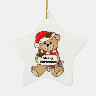 Christmas Teddy Bear Message Ceramic Star Decoration