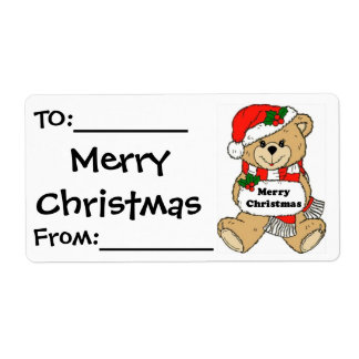 Christmas Teddy Bear Message Shipping Label