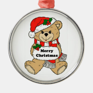 Christmas Teddy Bear Message Silver-Colored Round Decoration