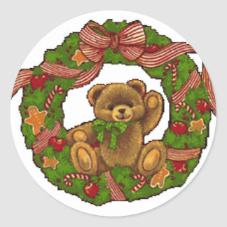 Christmas Teddy Bear Wreath Classic Round Sticker