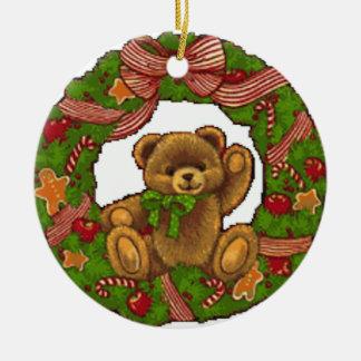 Christmas Teddy Bear Wreath Christmas Ornament