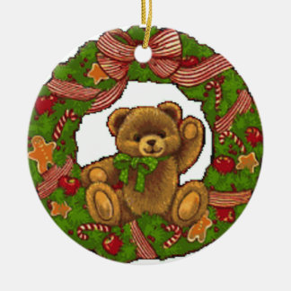 Christmas Teddy Bear Wreath Round Ceramic Decoration