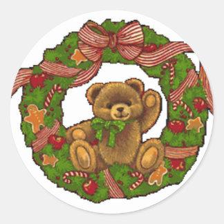 Christmas Teddy Bear Wreath Round Sticker