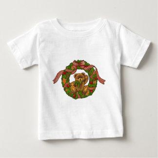 Christmas Teddy Bear Wreath Tshirt