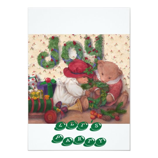 CHRISTMAS teddy bears PARTY INVITATION