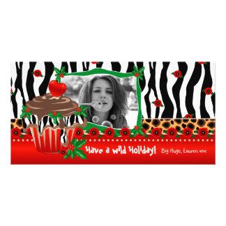 Christmas Template Cute Cupcake Zebra Leopard 2