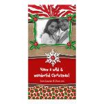 Christmas Template Snowflake Zebra Leopard Photo Greeting Card