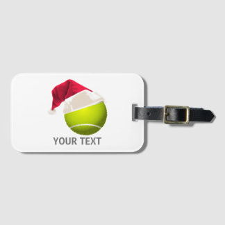 Christmas Tennis Ball Santa Hat Luggage Tag