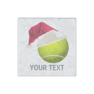 Christmas Tennis Ball Santa Hat Stone Magnet