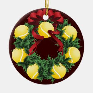 Christmas Tennis Wreath Round Ceramic Decoration
