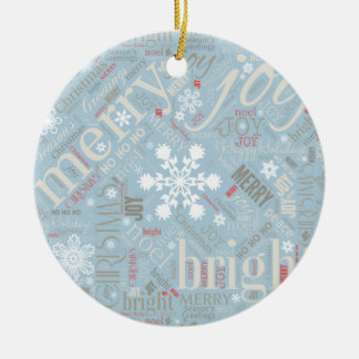 Christmas Text and Snowflake Pattern Blue ID257 Round Ceramic Decoration