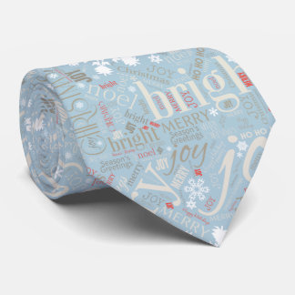 Christmas Text and Snowflake Pattern Blue ID257 Tie