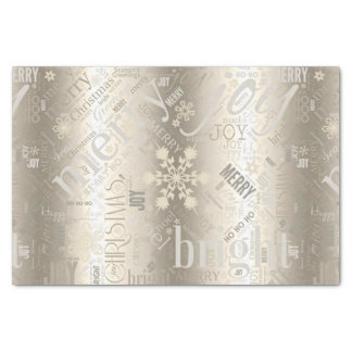 Christmas Text and Snowflake Pattern Gold ID257 Tissue Paper