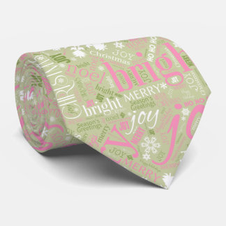Christmas Text and Snowflake Pattern Green ID257 Tie