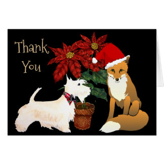 Christmas Thank You Card with Fox