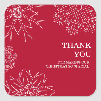Christmas Thank You Stickers - Red