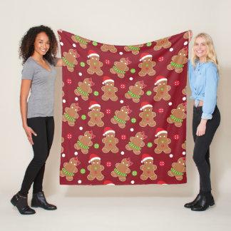 Christmas Theme Gingerbread Men Fleece Blanket