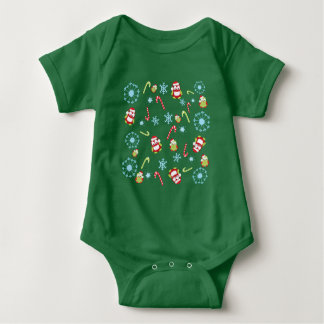 Christmas Theme Owls Candy Canes and Snowflakes Baby Bodysuit