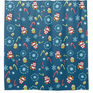 Christmas Theme Owls Candy Canes and Snowflakes Shower Curtain