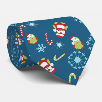 Christmas Theme Owls Candy Canes and Snowflakes Tie