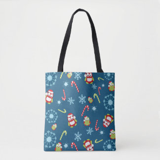 Christmas Theme Owls Candy Canes and Snowflakes Tote Bag