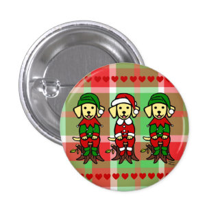 Christmas Three Yellow Lab Puppies Pinback Buttons