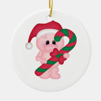 Christmas Time Pig Ceramic Ornament