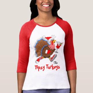 Christmas Tipsy Turkey (Martini) - 3/4 Raglan T-Shirt